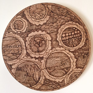 'Nine Seasons' Sara Roizen wood burning on maple
