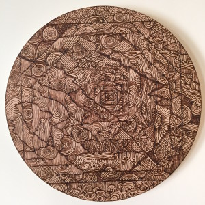 'Off Center' Sara Roizen wood burned mandala