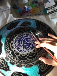 vinyl record mandala in progress