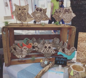 Wood burned flock in my Arts Fest booth