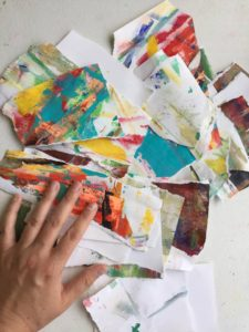 Some of my torn up 'ugly' paintings on paper...ready to create something new (and maybe magical) with them!