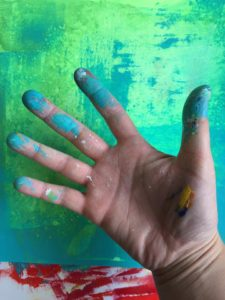 My messy and happy paint hand.