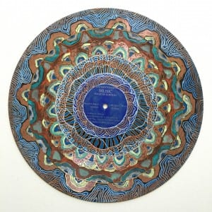 vinyl record mandala ~ acrylic & paint pen on vinyl ~ Sara Roizen