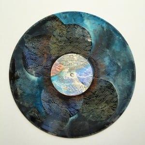 vinyl record mandala ~ acrylic on vinyl ~ Sara Roizen