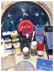 Some of the art materials I use to create the vinyl mandalas ~ acrylic, paint pens, & hand carved stamps.