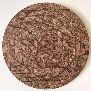 'Off Center' Sara Roizen wood burned mandala